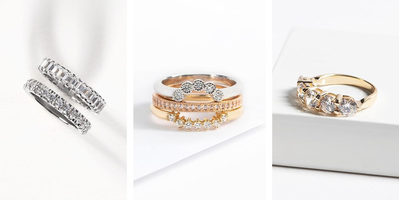 Mixed metal Diamond Nexus wedding ring stacks.