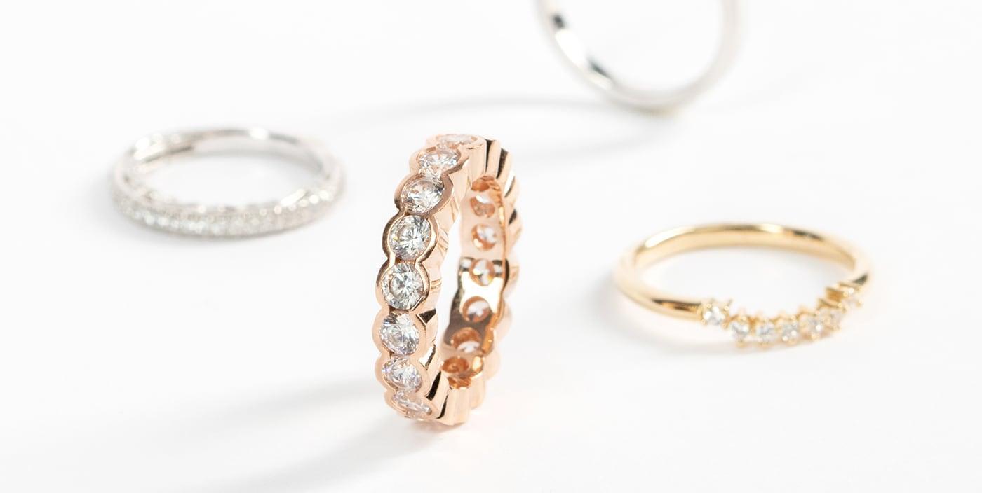 Variety of Diamond Nexus wedding ring styles.