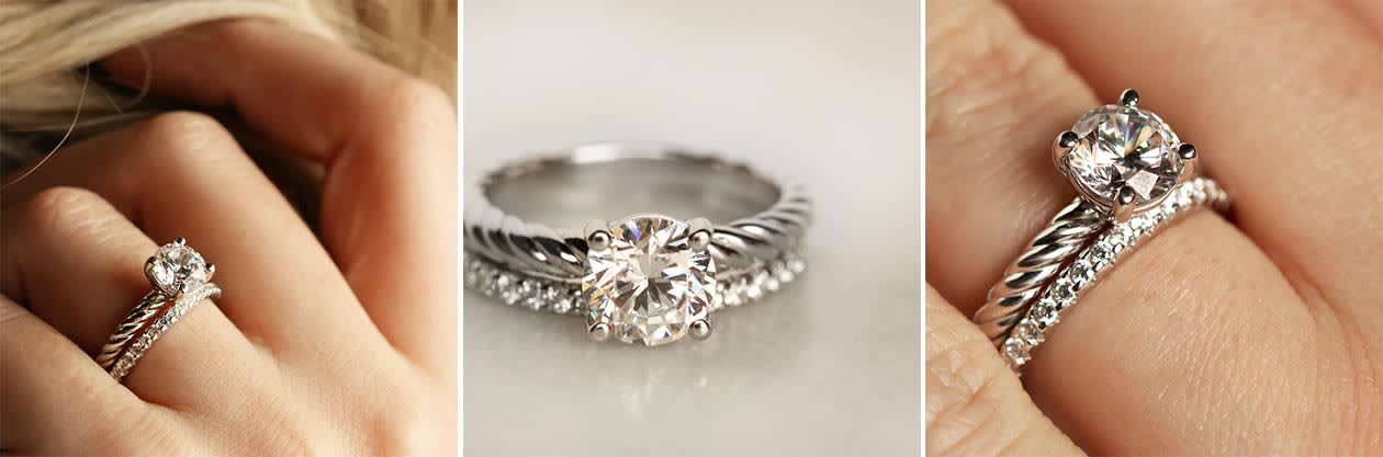 The Fiji engagement ring paired with an accented wedding band