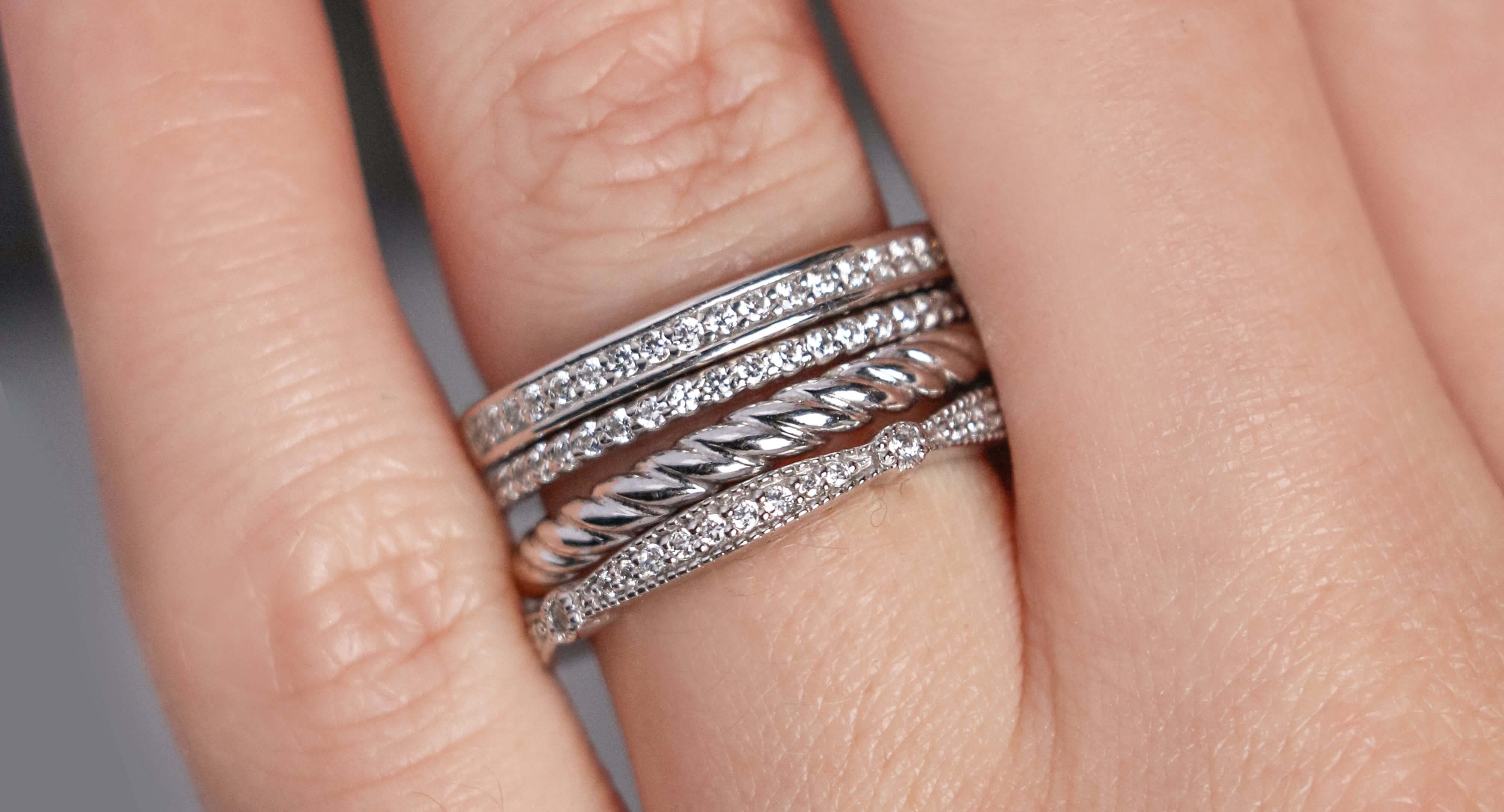 White gold Diamond Nexus wedding ring stack.