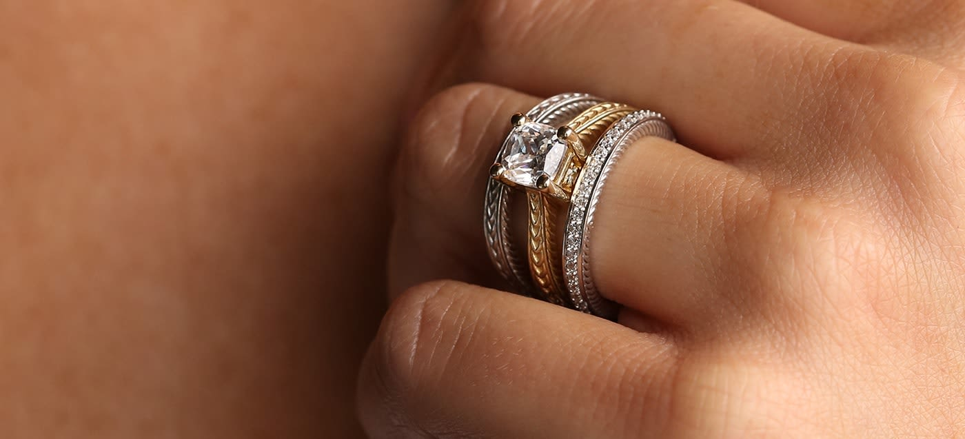 The Sage Collection wedding set in yellow and white gold.