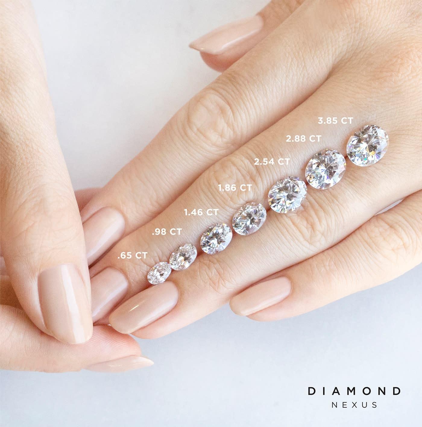 Loose Oval Nexus Diamond alternatives in various carat weights on a hand.