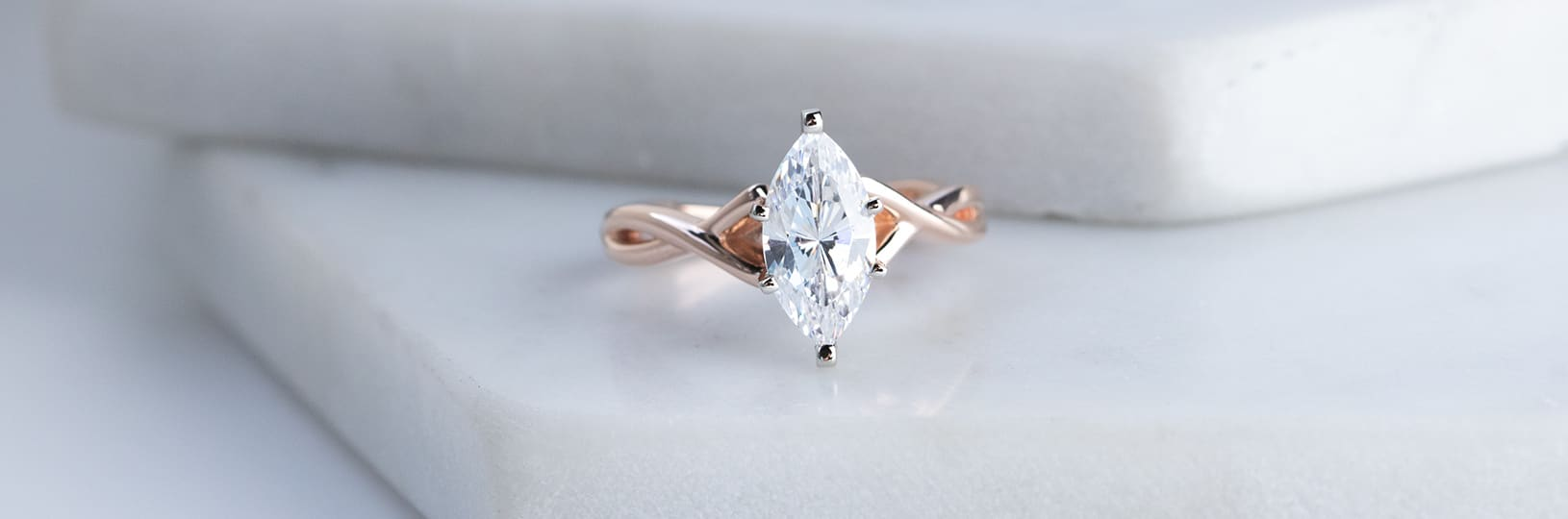 A Marquise lab created diamond simulant engagement ring.