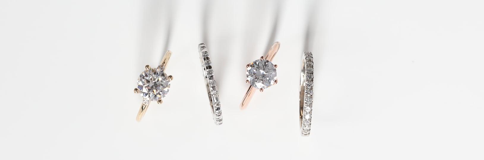 Simulated diamond engagement rings.