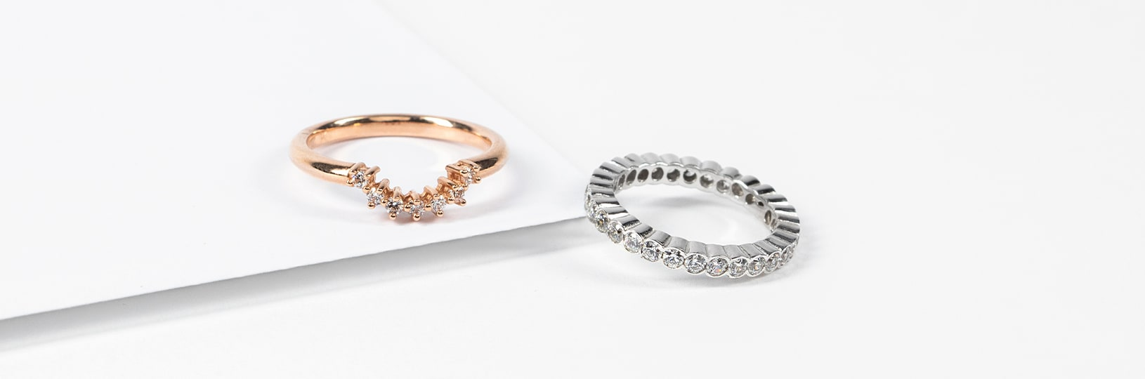 Accented wedding rings.