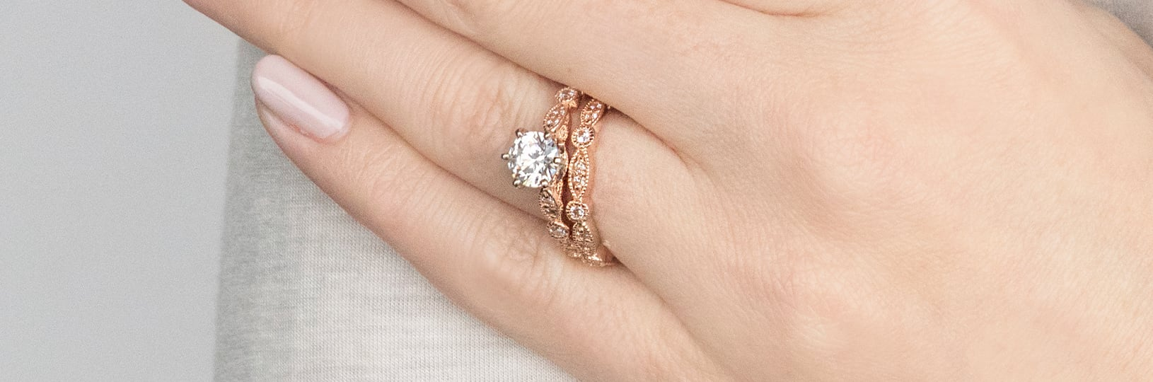 Matching accented wedding ring set.