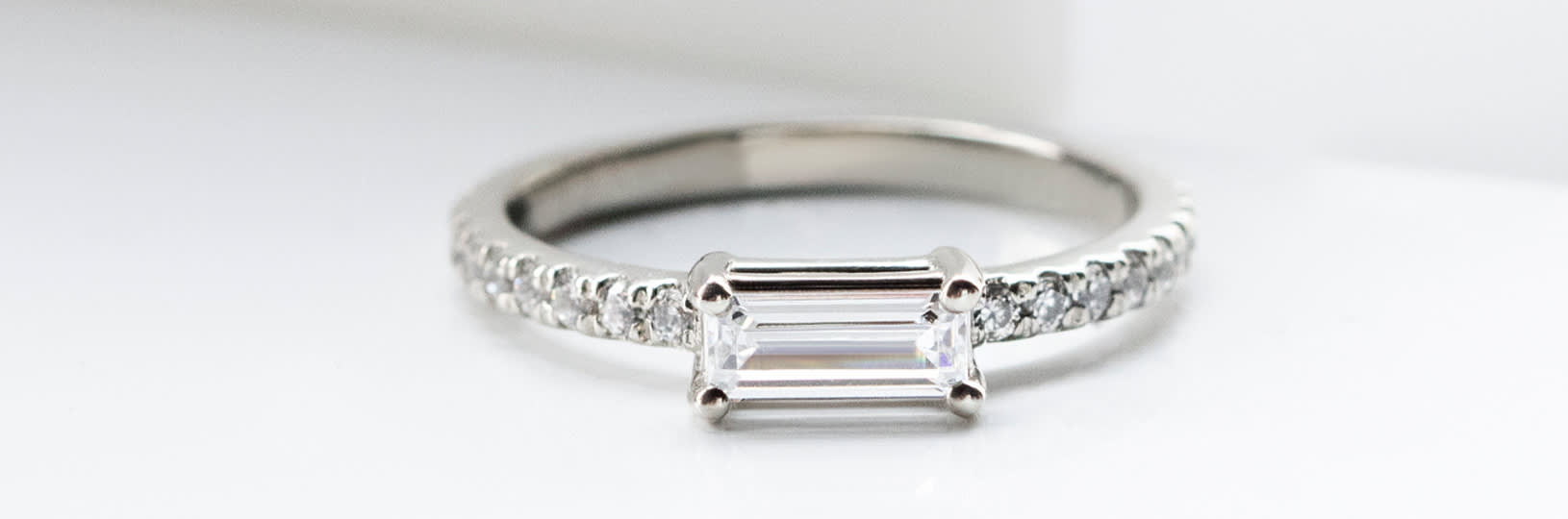 Simulated diamond promise ring.