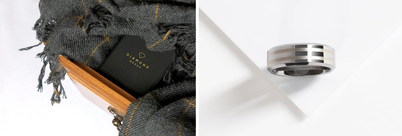 men's engagement ring and packaging
