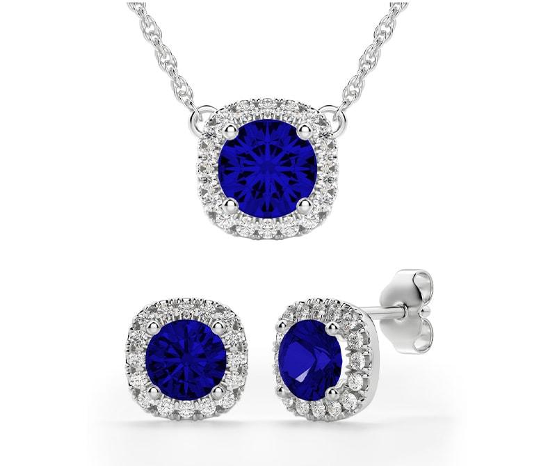 Sapphire wedding jewelry set.