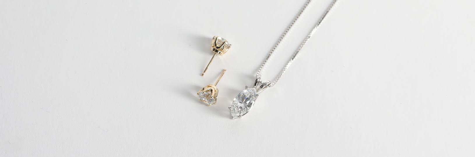Mismatched jewelry set.