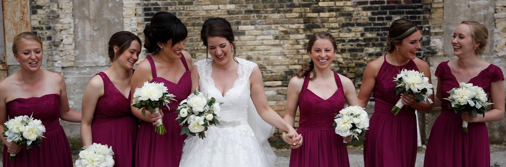 Matching bridesmaid jewelry.
