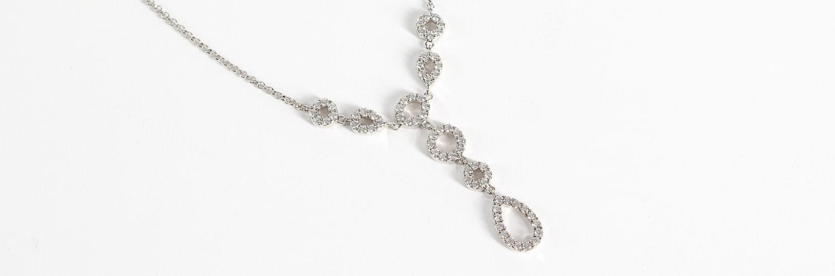Simulated diamond necklace.