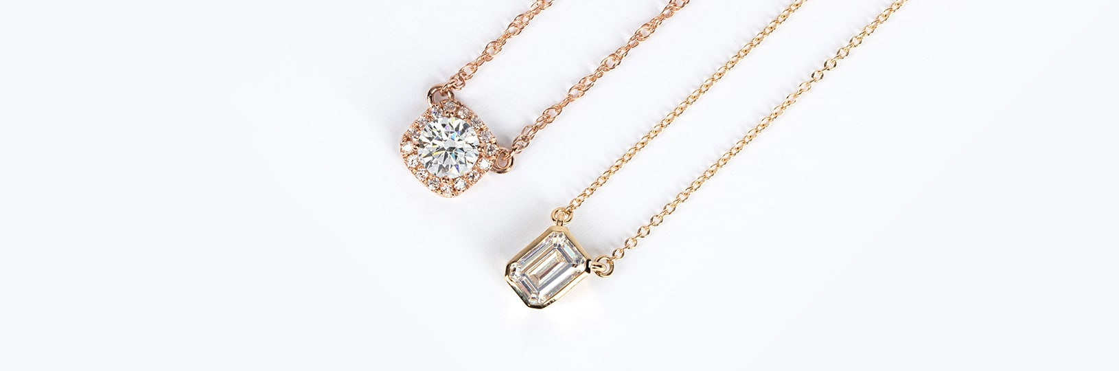 Simulated diamond necklaces.