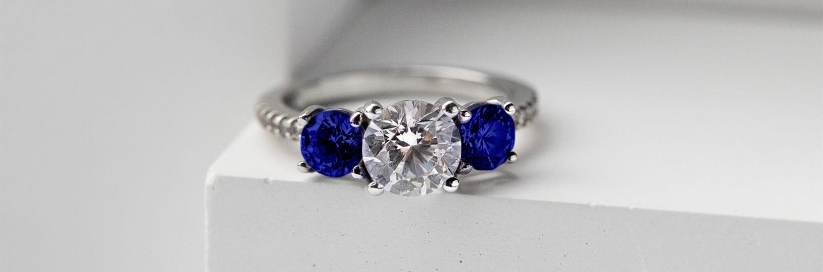 Three stone sapphire engagement ring.