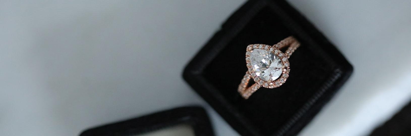 Simulated diamond engagement ring.