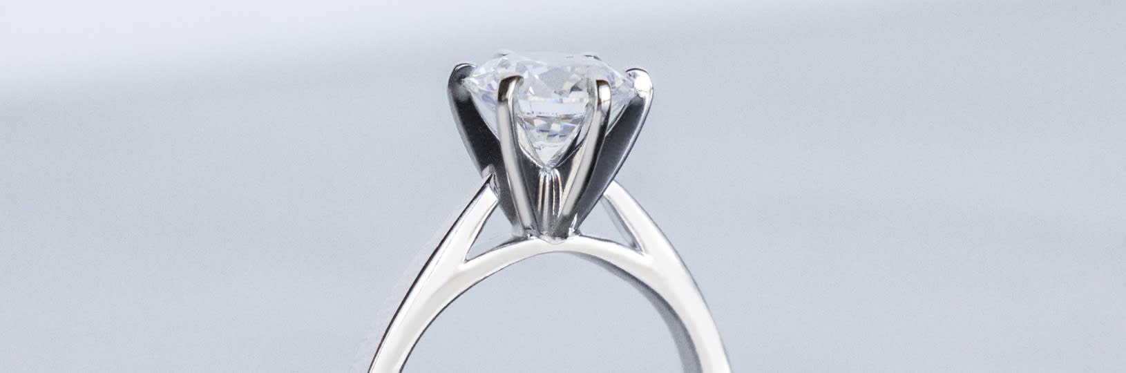 Cathedral set engagement ring.