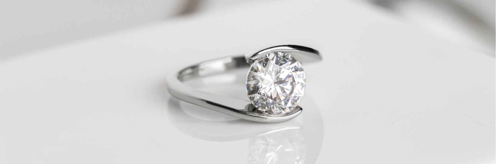 Tension set engagement ring.