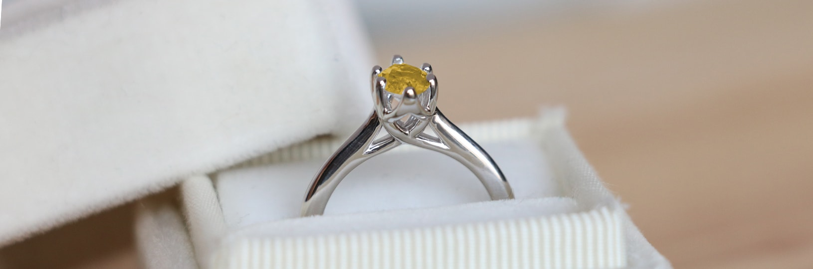 Yellow simulated diamond engagement ring