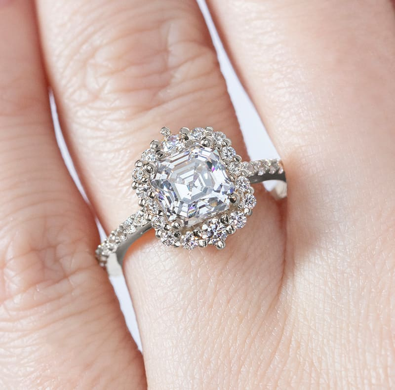 An engagement ring in a halo setting