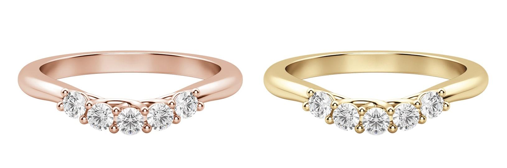 Yellow gold wedding ring & rose gold wedding ring