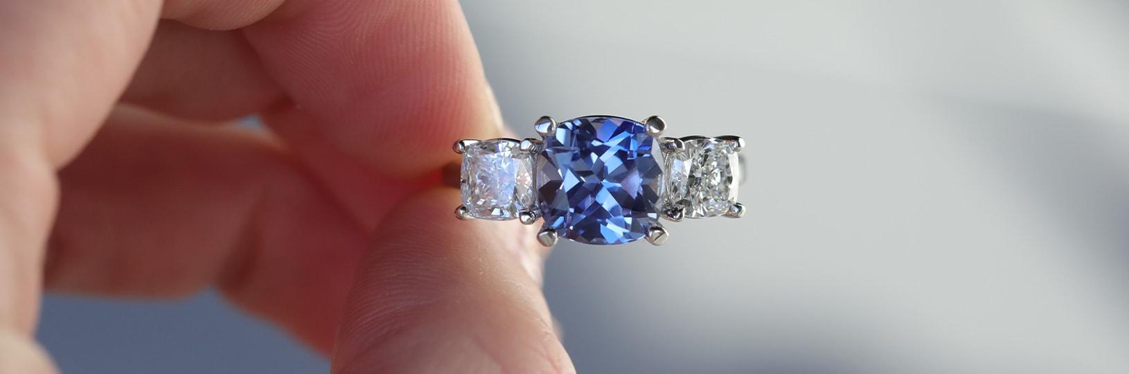 Three stone sapphire engagement ring