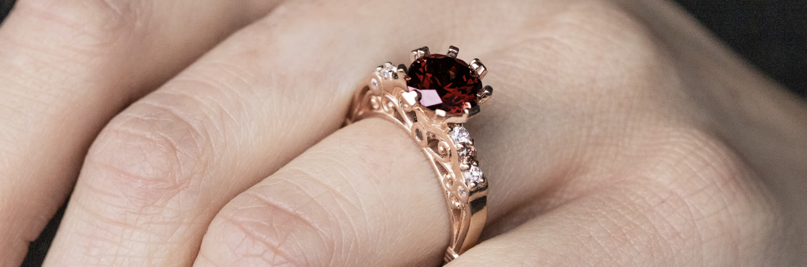 Accented ruby engagement ring
