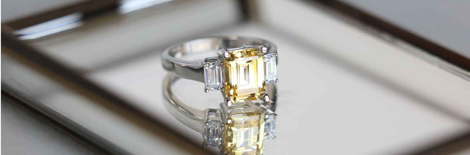 Three stone gemstone engagement ring