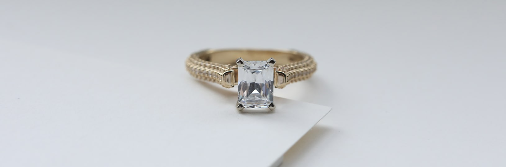 Radiant cut pavé engagement ring