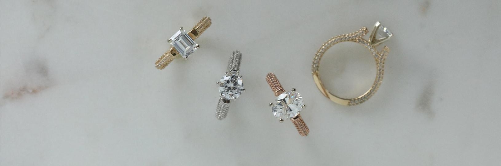 Multiple pavé engagement rings