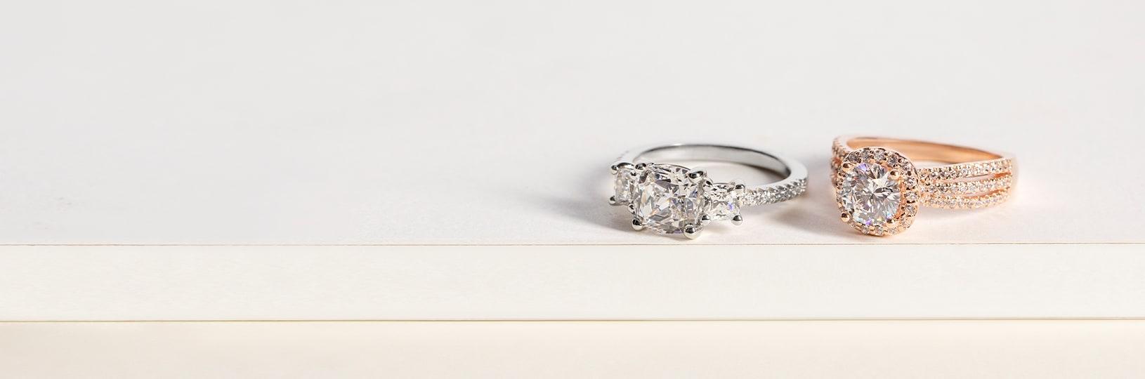 Simulated diamond engagement rings