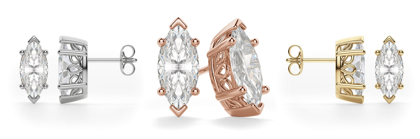 Marquise cut filigree earrings