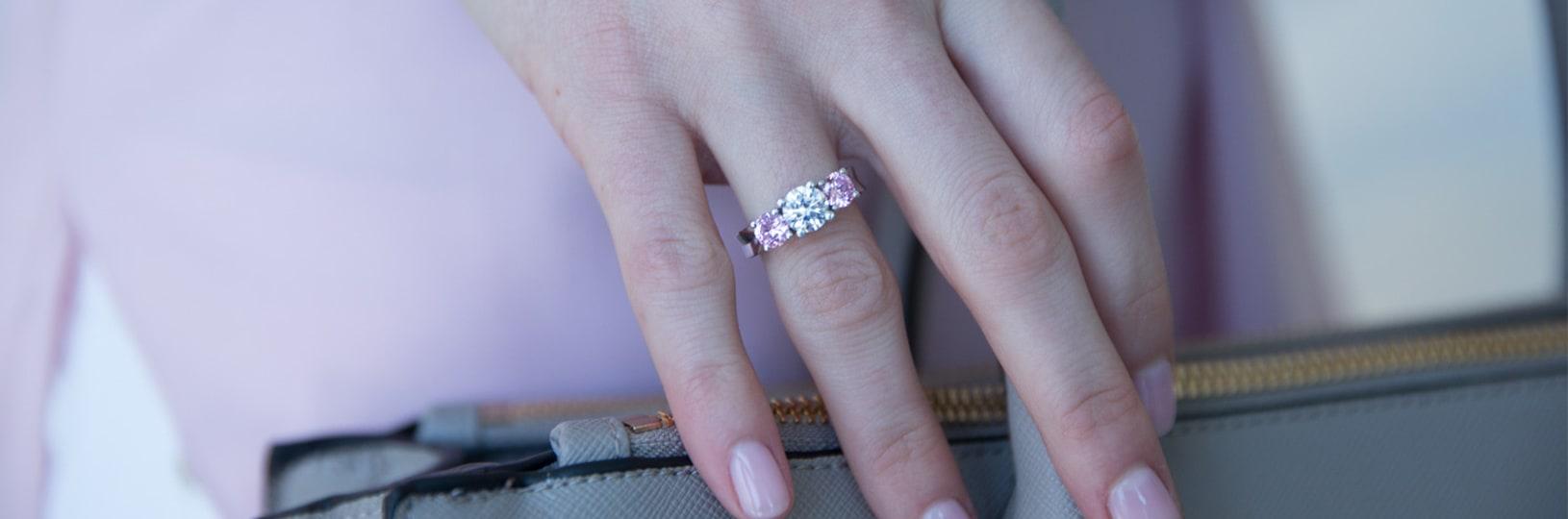 Three stone gemstone right hand ring