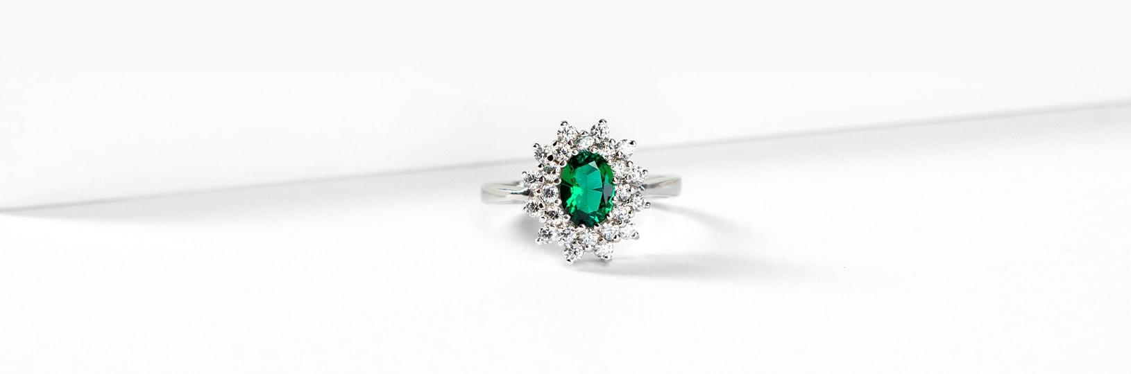 Lab created emerald right hand ring