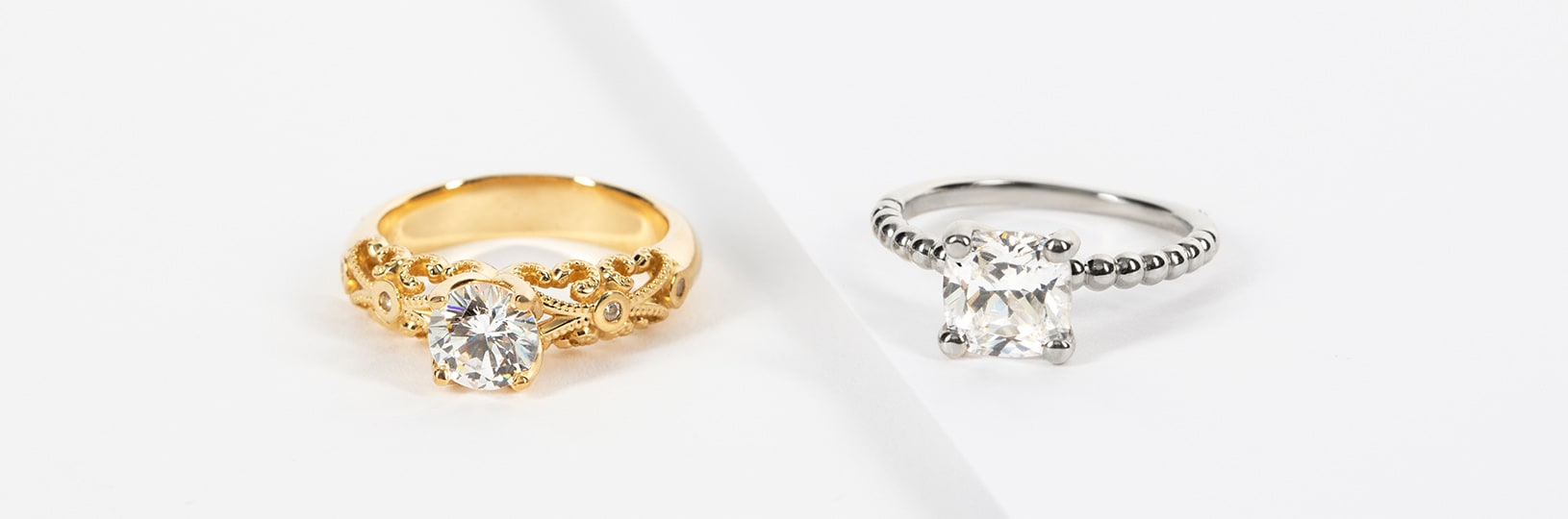Two of the most popular metals, yellow and white gold both have their pros and cons