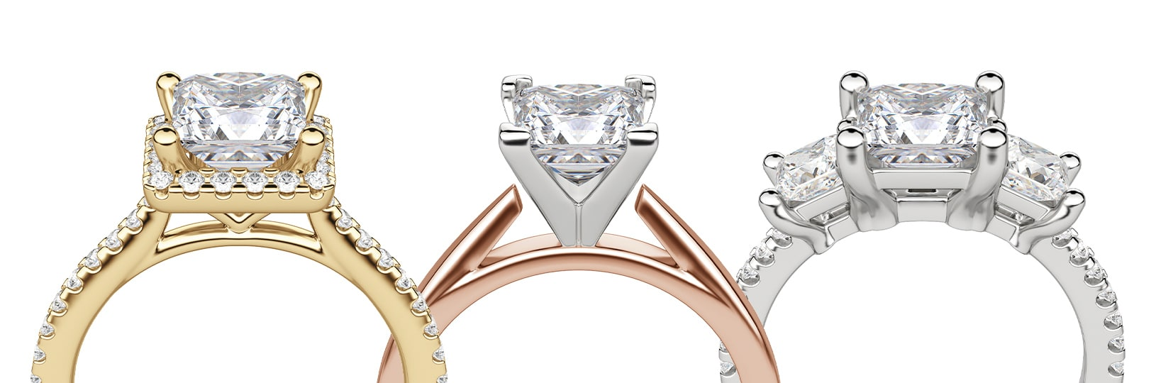 A princess cut simulated diamond featured in three different settings