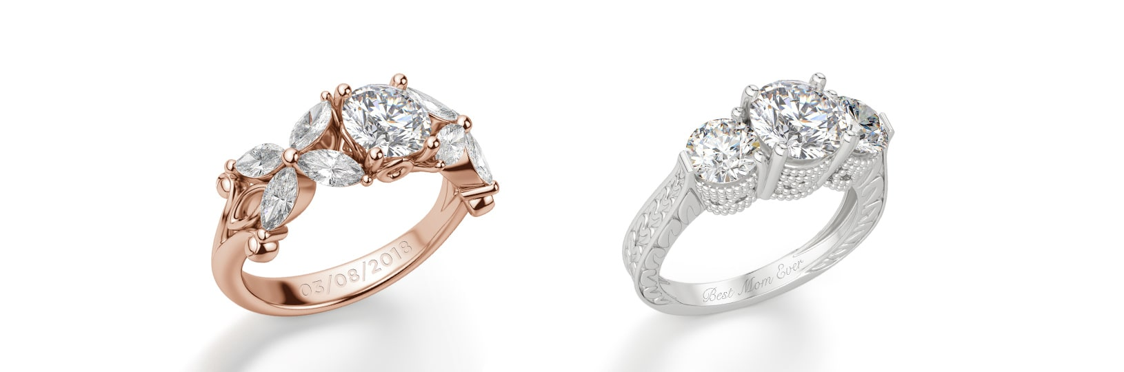 Two engagement rings with engraving
