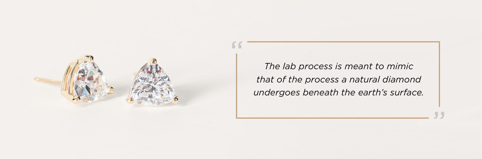 The lab process mimics the process that a natural diamond undergoes