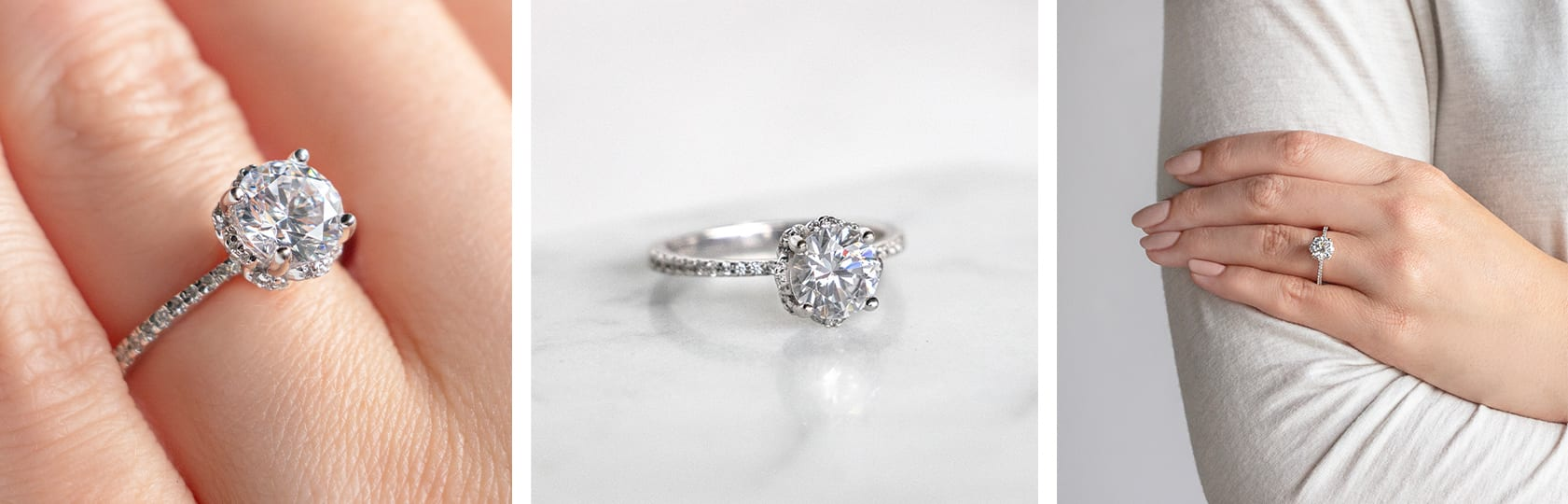 A round cut accented engagement ring