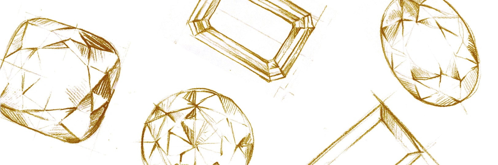 Sketch of different diamond shapes