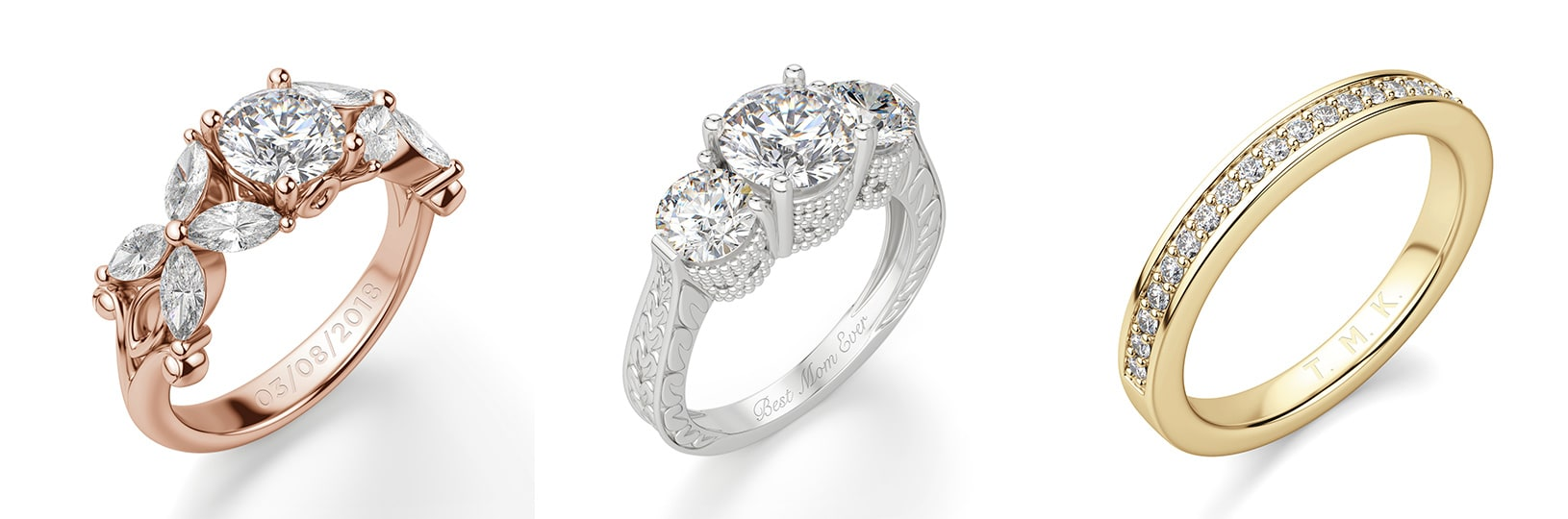 Three engagement rings side-by-side