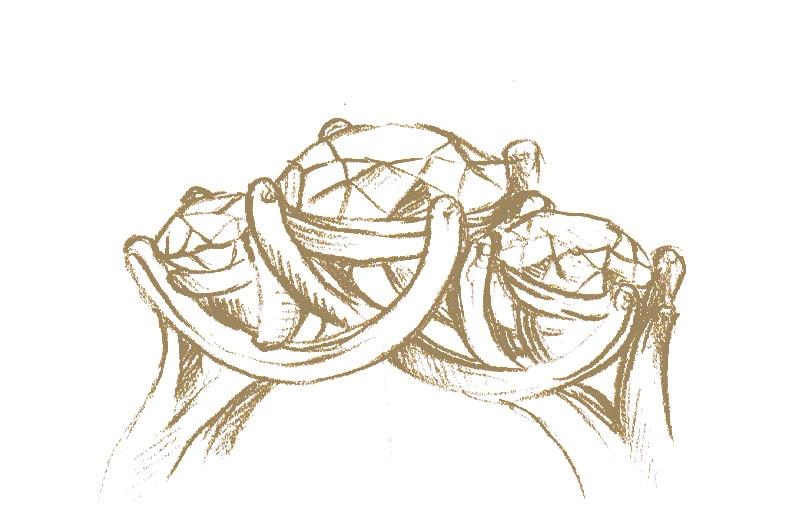 Three stone engagement ring setting