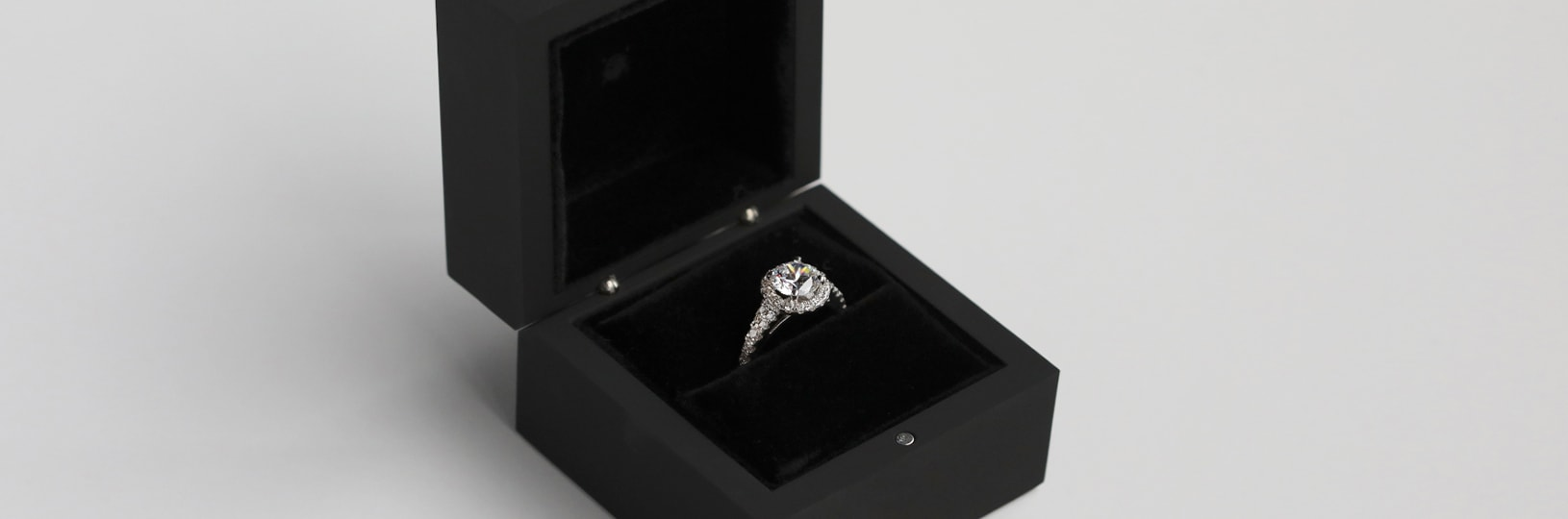 An engagement ring with a halo setting