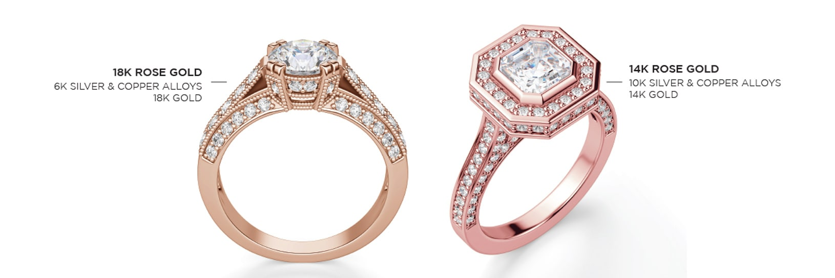 An 18K rose gold ring and a 14K rose gold ring side by side