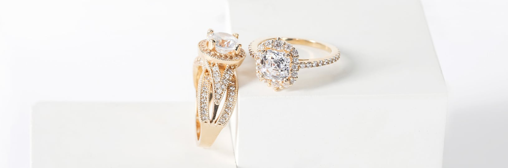 Two engagement rings side by side