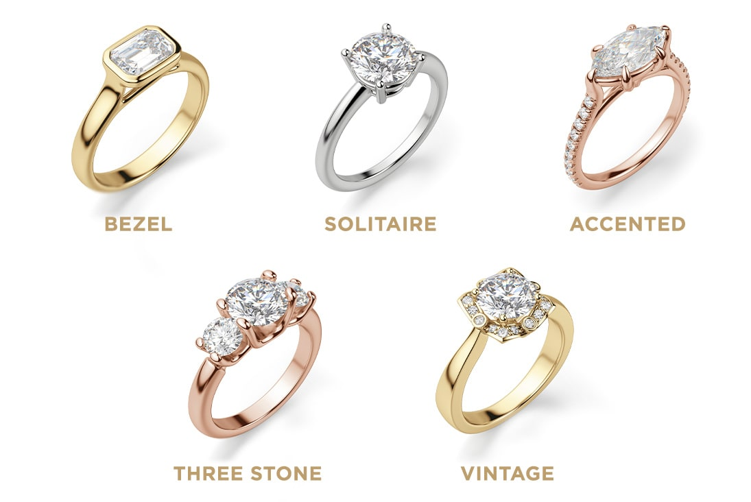 Image of different engagement ring settings