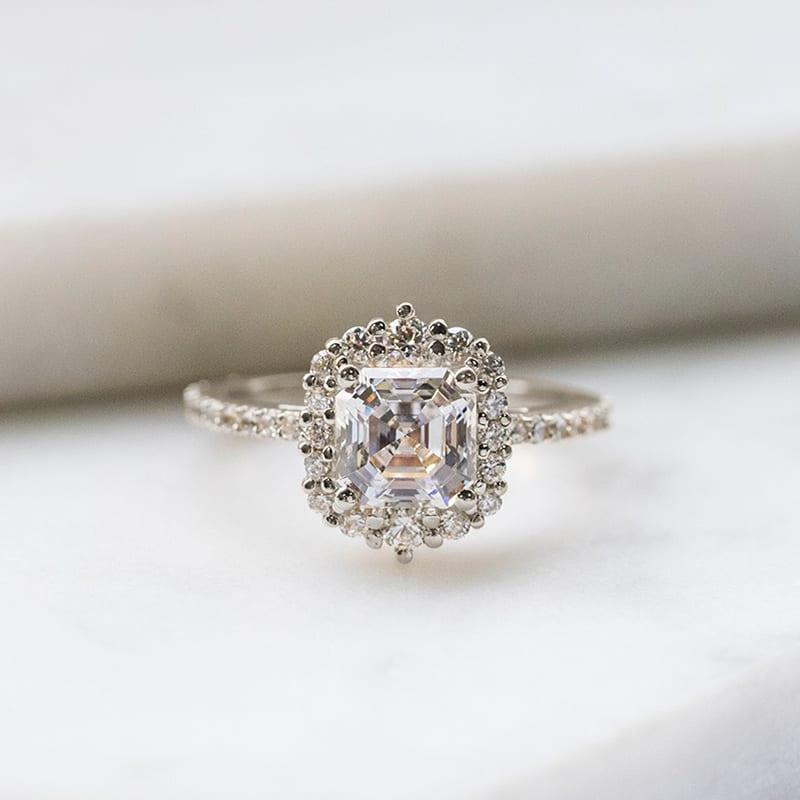 Halo Asscher cut engagement ring
