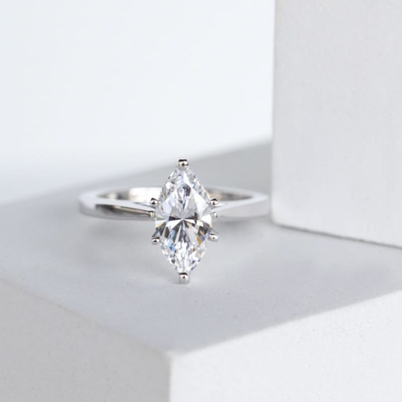 Marquise cut stone in a solitaire setting