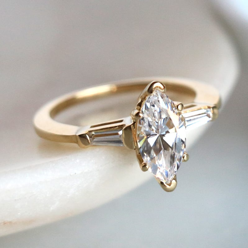 Marquise engagement ring with baguette accent stones