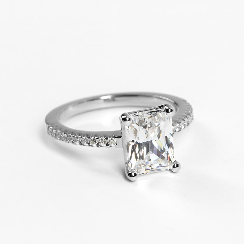 White gold engagement ring with a fishtail setting