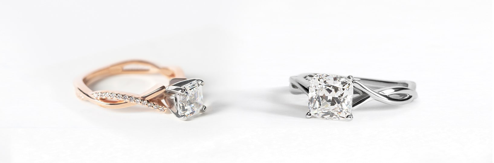 Two engagement rings compared side-by-side